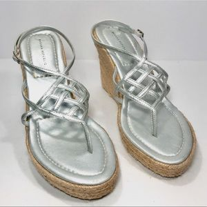 Banana Republic Silver Wedge Sandals Size 7